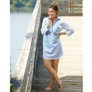 Monogram Seersucker Kelli Shirtdress Cover-Up