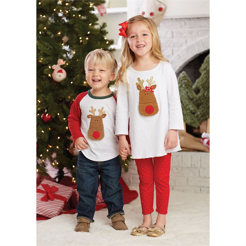 Personalized Open Mouth Reindeer Tee and Tunic