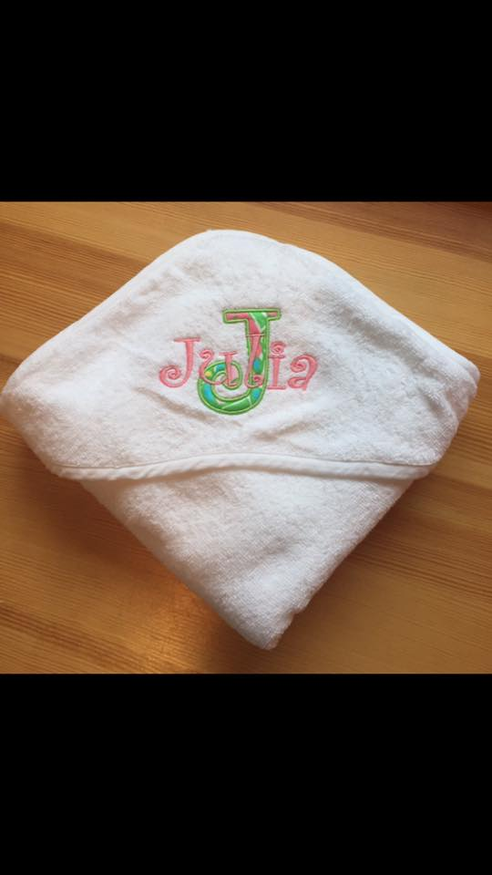 Monogram Baby Terry Cloth Hooded Towel