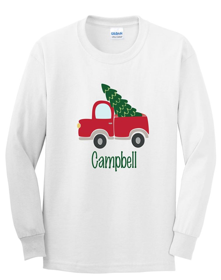 Boys Christmas Tree Truck Tee personalized