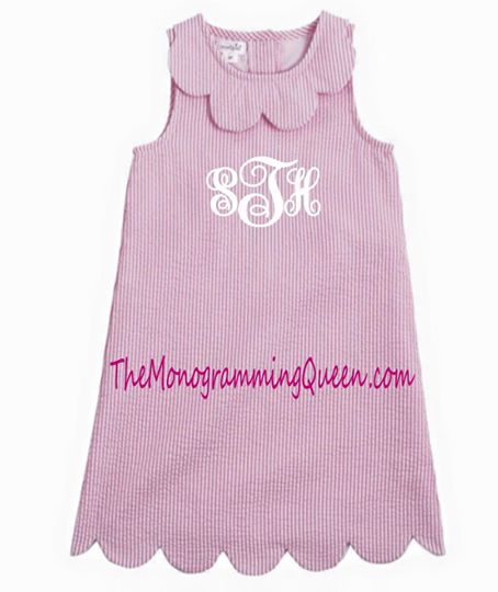 Monogram Seersucker Scallop Dress