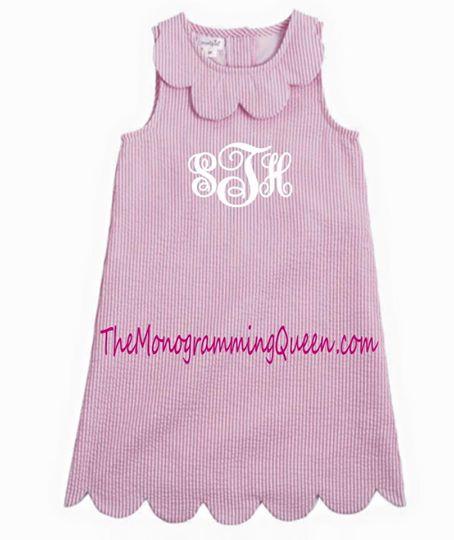 Monogram Seersucker Scallop Dress