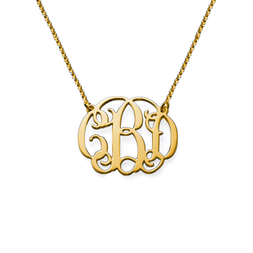 Gold Monogram Necklace 1""