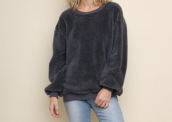 Boutique Fuzzy Velour Sweatshirt