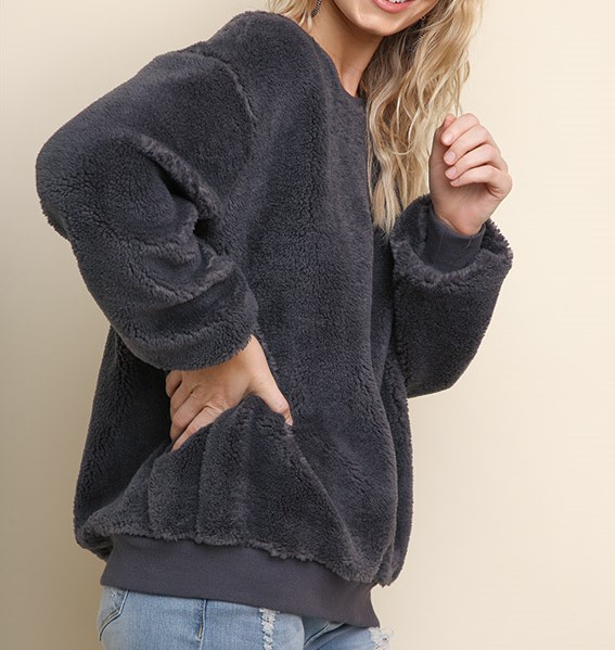 Boutique Fuzzy Velour Sweatshirt