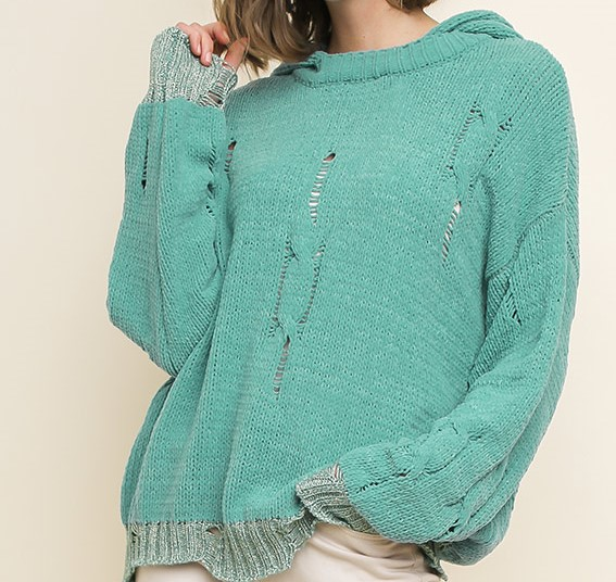 Distressed  Sweater Seafoam