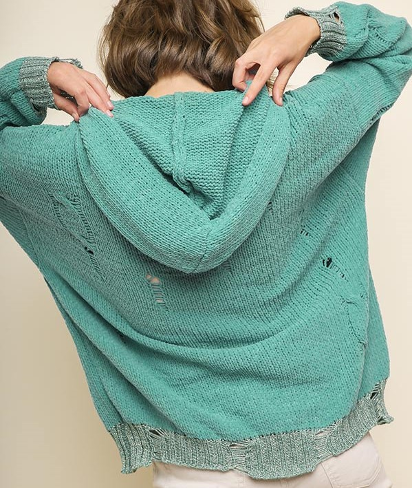 Distressed  Sweater Seafoam or emerald green