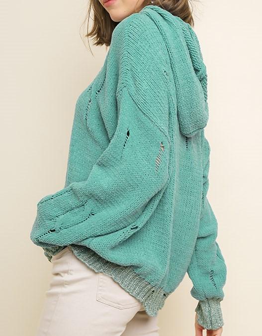 Distressed  Sweater Seafoam