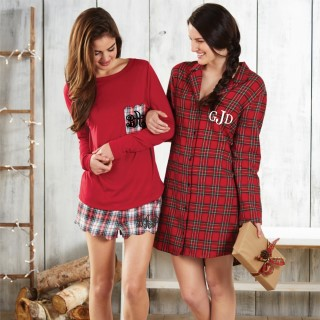 Monogram Plaid Boxers and Red tee with Plaid pocket