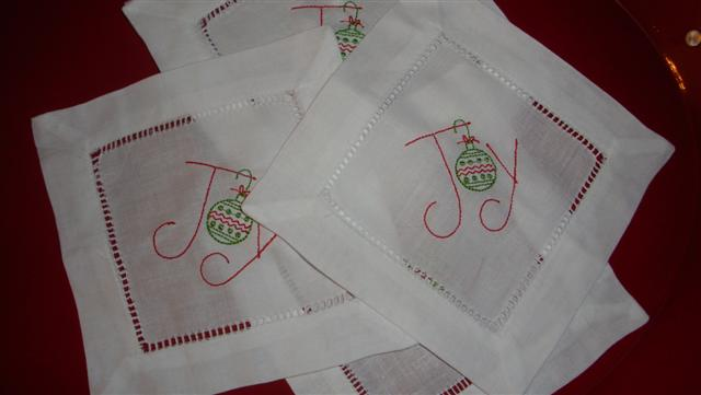 Christmas Joy 6 Linen Hemstitch Cocktail Napkins