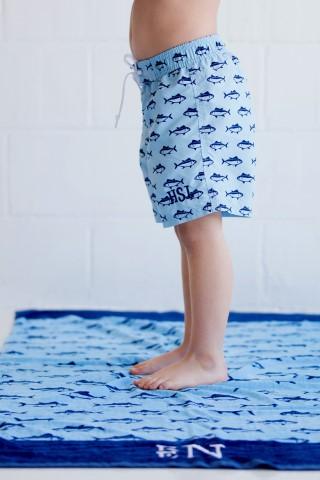 Boys Monogram Preppy Finn swim trunks