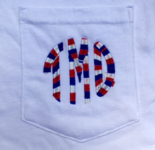 Monogram Red White and Blue Variegated thread Tee or Tank