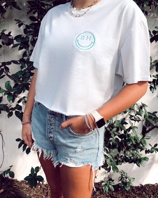 Personalized Smiley garment dye tee shirt