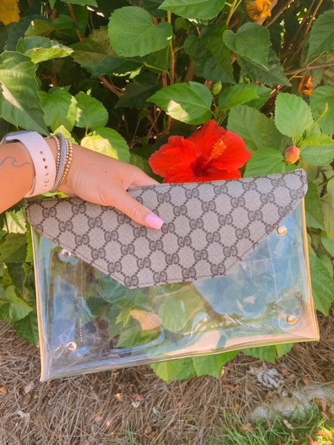 Authentic Repurposed Gucci clear bag
