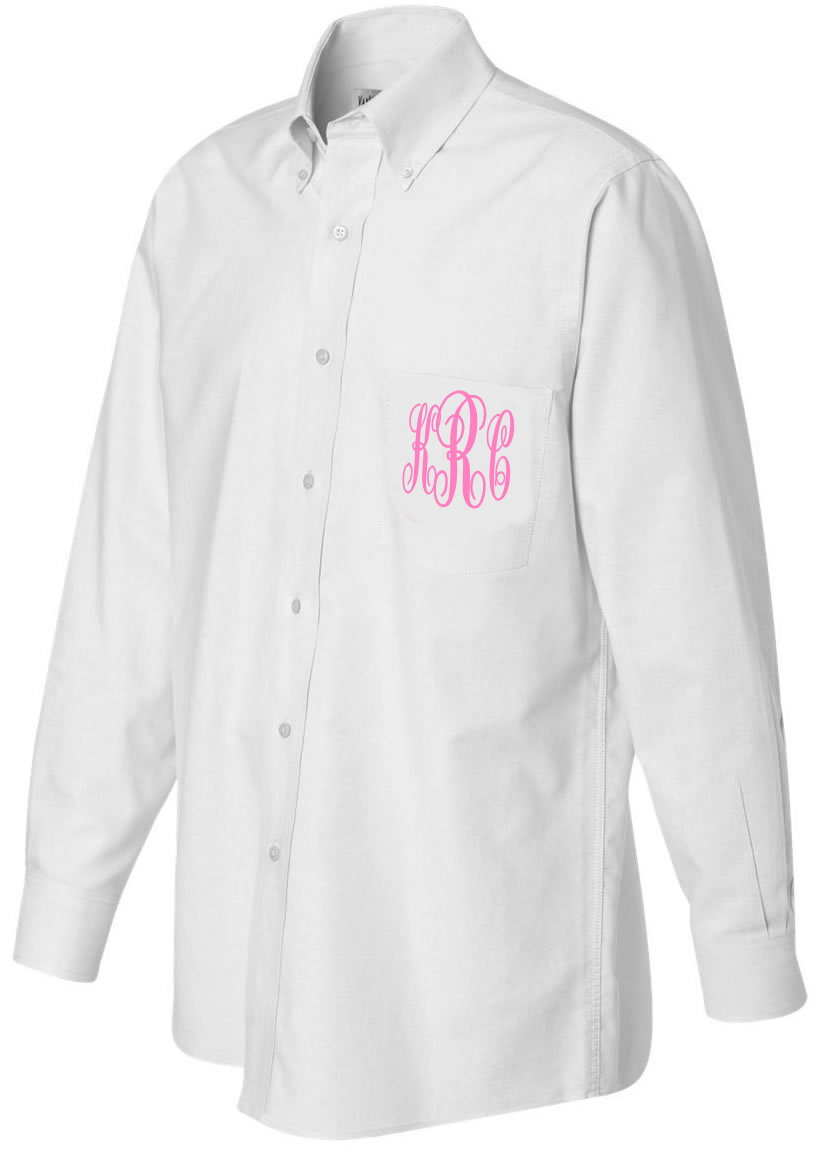 monogram Oversized Bride or Bridesmaid oxford Button Down Bridal Party