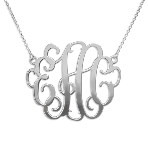 "Monogram Gold Rose Gold or Silver 2"" Monogram Necklace"