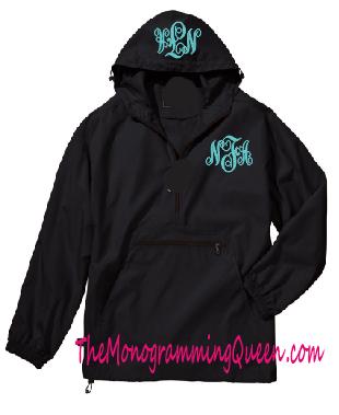 Monogram 1/4 zip windbreaker jacket