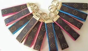 Authentic Louis Vuitton repurposed canvas wristlet keychain with an inital