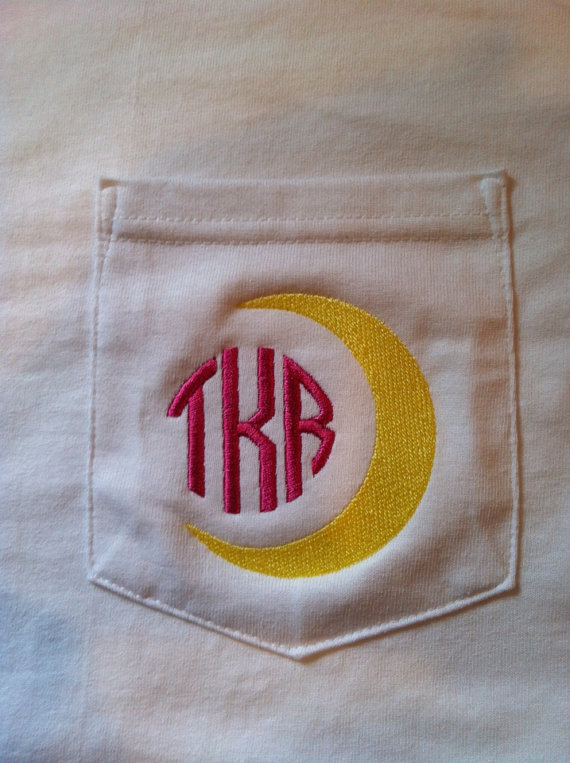 Monogram crescent moon pocket Tee Gamma Phi Beta