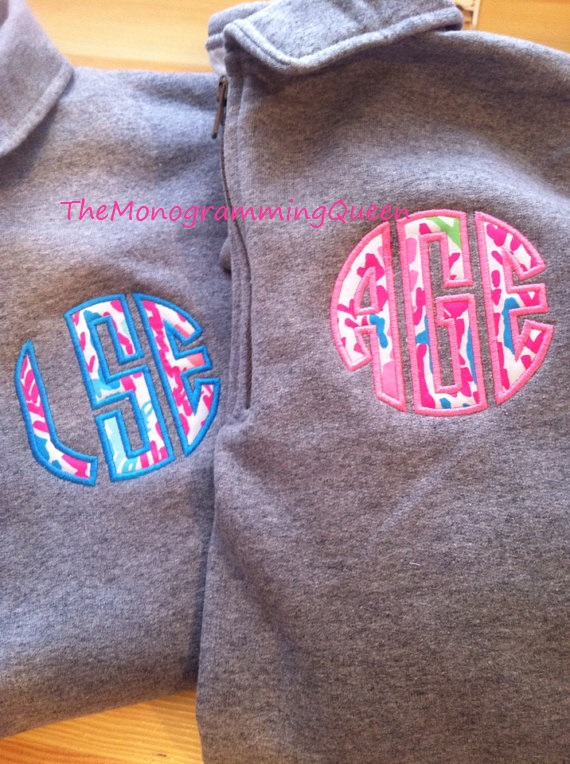 Lilly Pulitzer Applique Monogram 1/4 zip sweatshirt