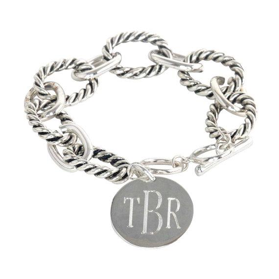 Monogrammed Link Bracelet - Gold or Silver