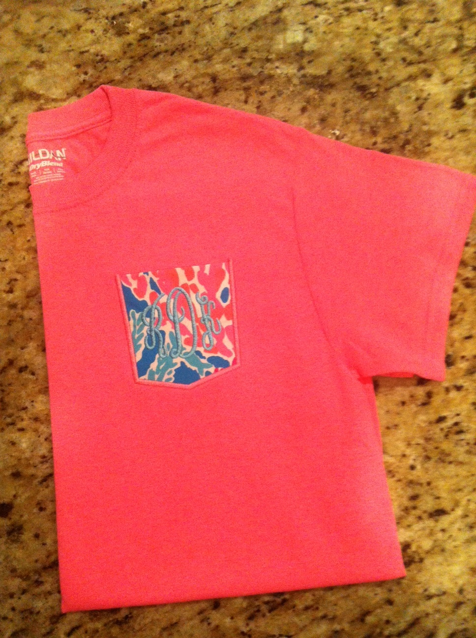 Lilly Pulitzer Monogram Pocket Frocket Tee Let's Cha Cha Short Sleeve or Long Sleeve-
