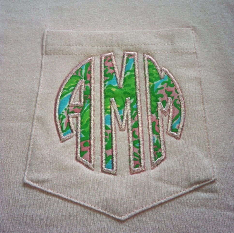 Lilly Pulitzer Applique Monogram Pocket Tee Short Sleeve or Long Sleeve