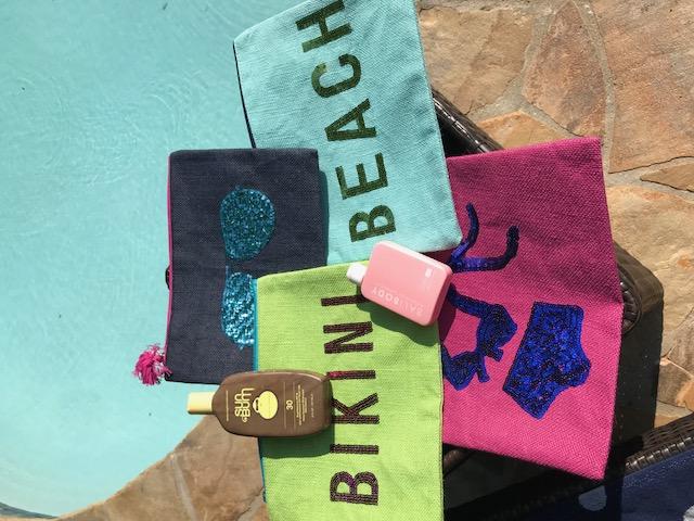 Jute Large bikini or Sun lotion bags