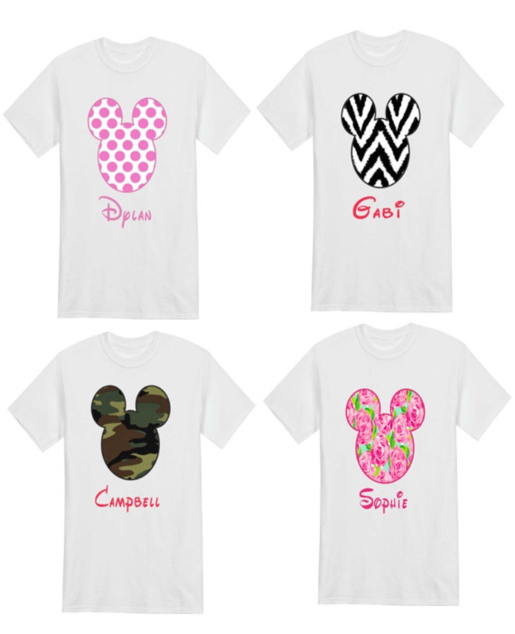 Mouse Tee shirts with Disney Font