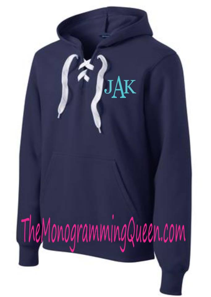 Monogram Lace up Hoodie Sweatshirt