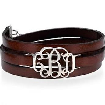 Monogram Silver Leather Wrap Bracelet