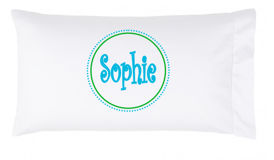 Circle and Dots Pillowcase Monogram or Name