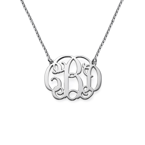 """Silver Monogram Necklace 1"""""""